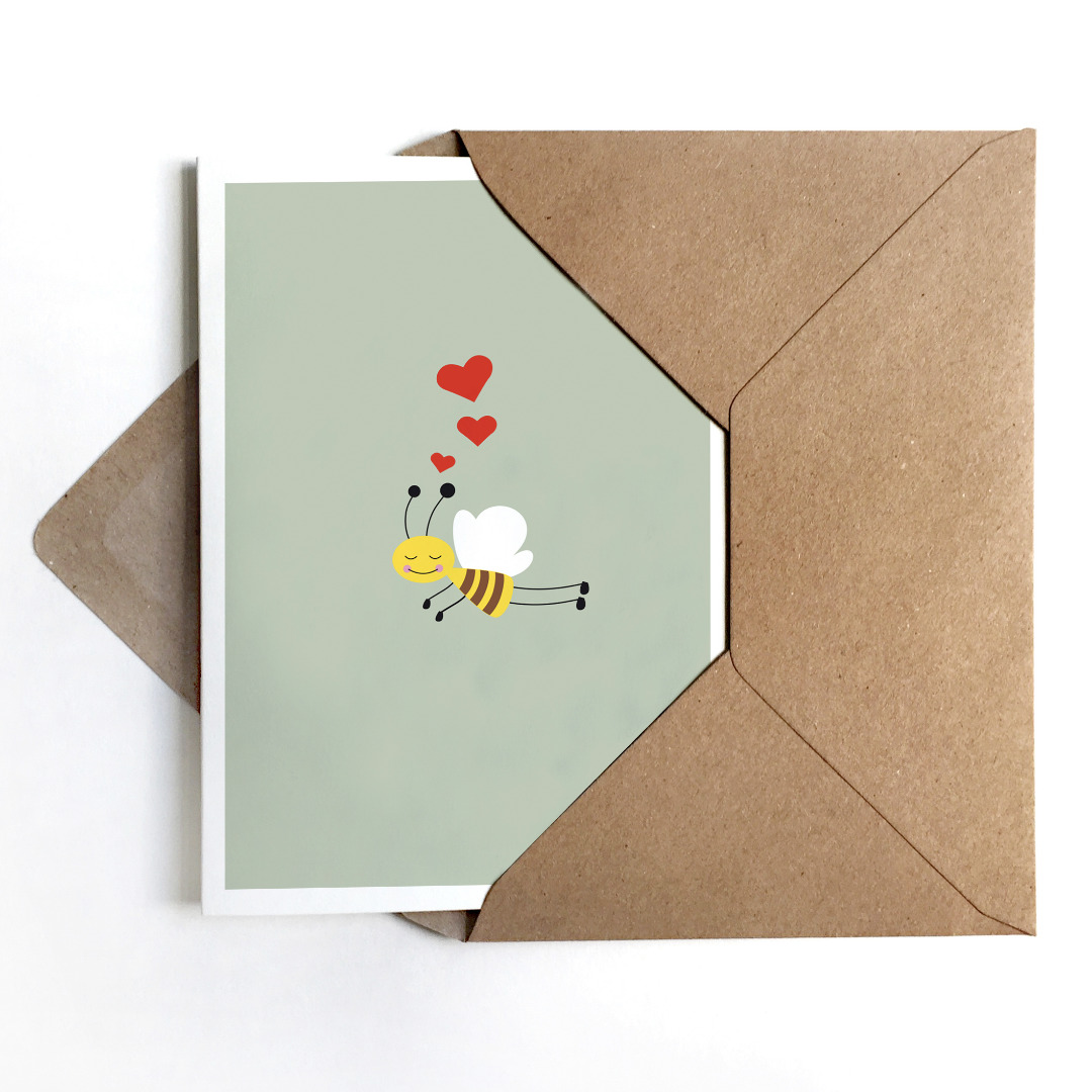 Grußkarte Biene Glückwunschkarte mit Biene - 1
