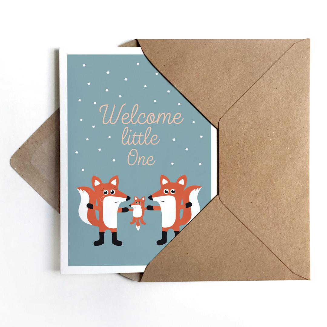 Grußkarte Fuchsfamily Glückwunschkarte zur Geburt
