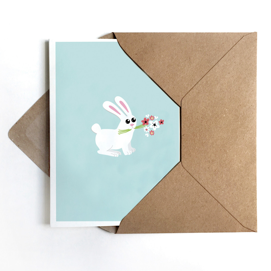 Grußkarte Bunny, Osterkarte mit Hase - 1