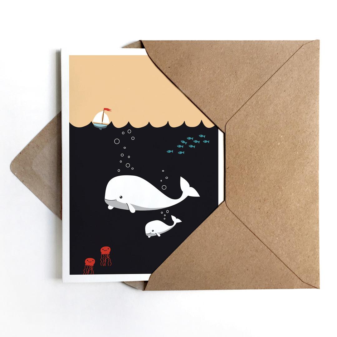 Grußkarte Moby Dick, Glückwunschkarte zur Geburt oder zur Taufe