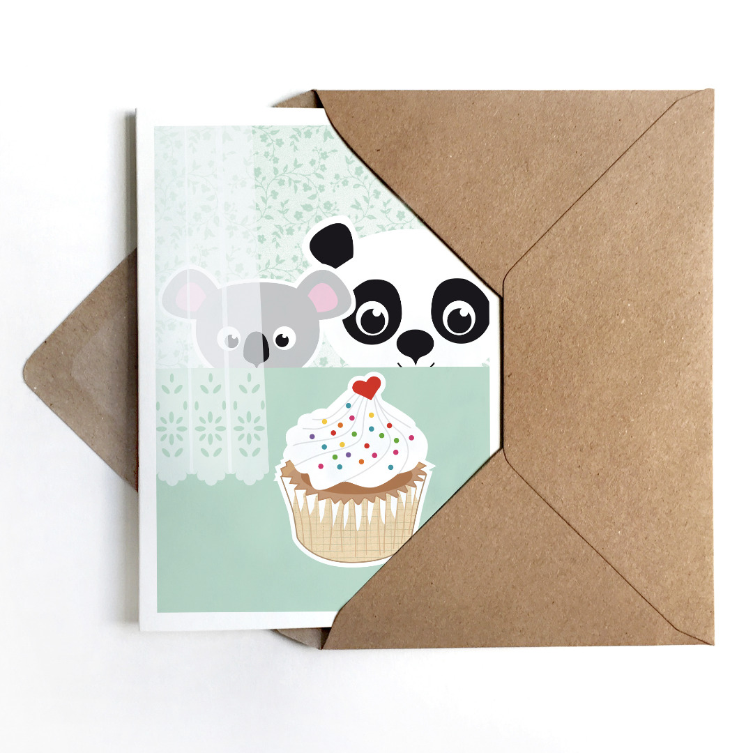 Grußkarte Panda & Koala, Geburtstagskarte - 1
