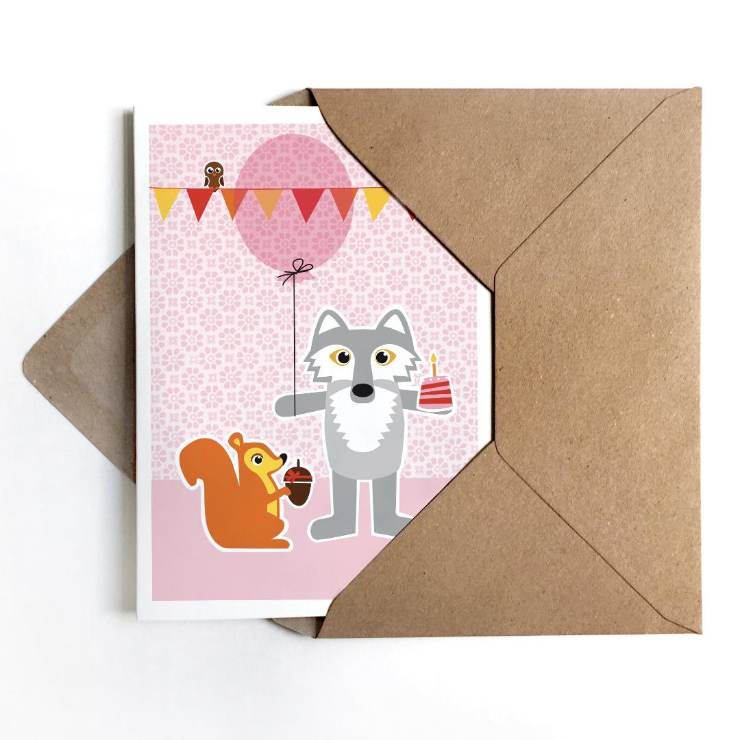 Grußkarte Wolf & Eichhörnchen, Geburtstagskarte