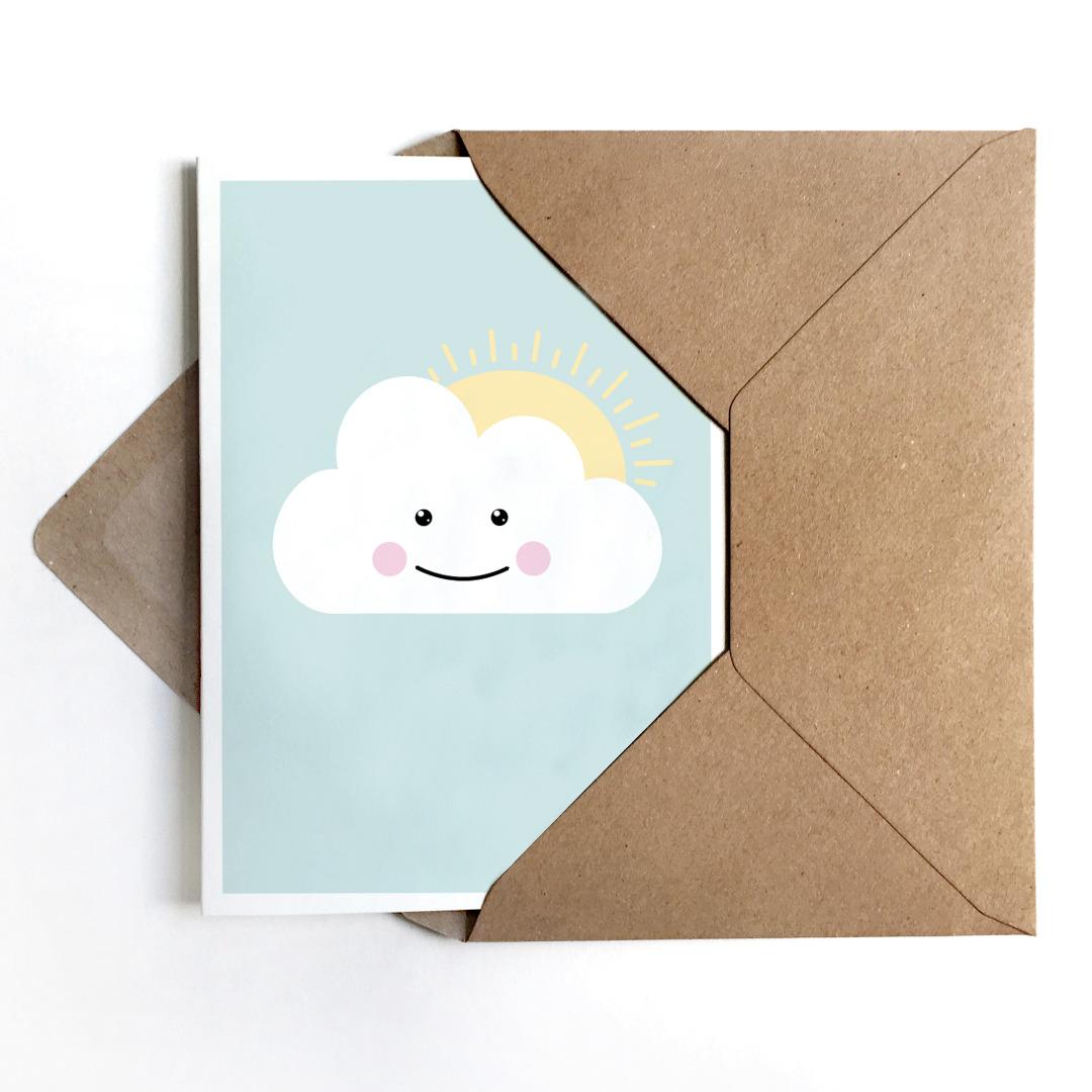 Grußkarte Schönwetterwolke, Klappkarte, Wolkenkarte - 1