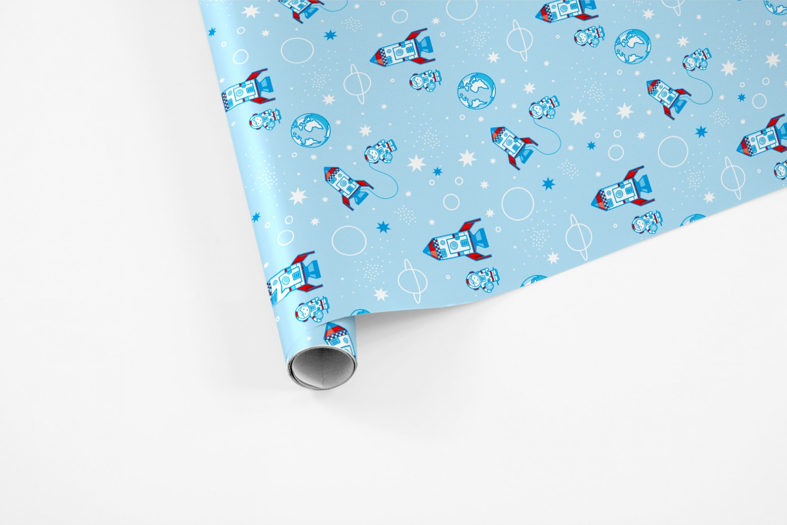 3 Bögen Geschenkpapier Astronaut