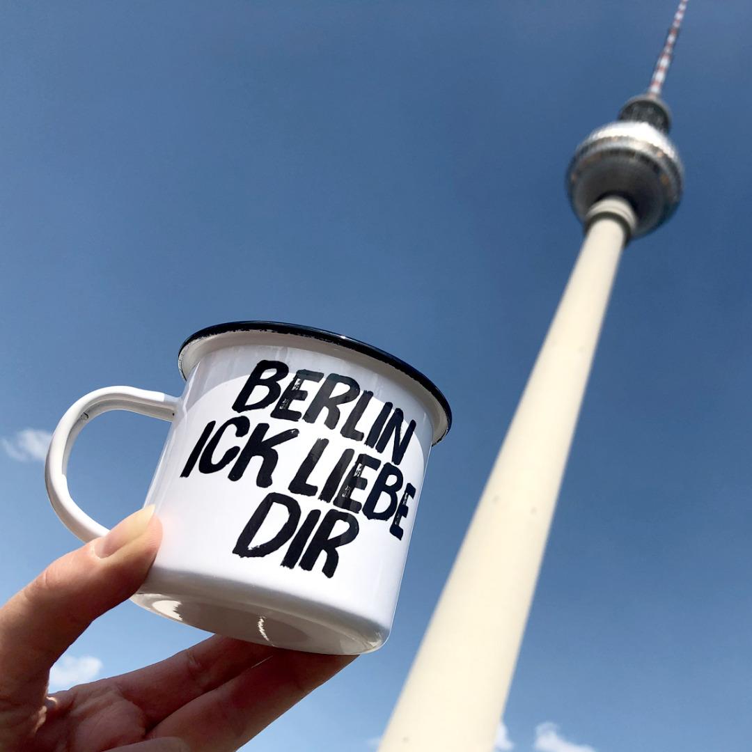 Emailletasse Berlin ick liebe dir Emaillebecher Tasse Berliner Mundart - 3