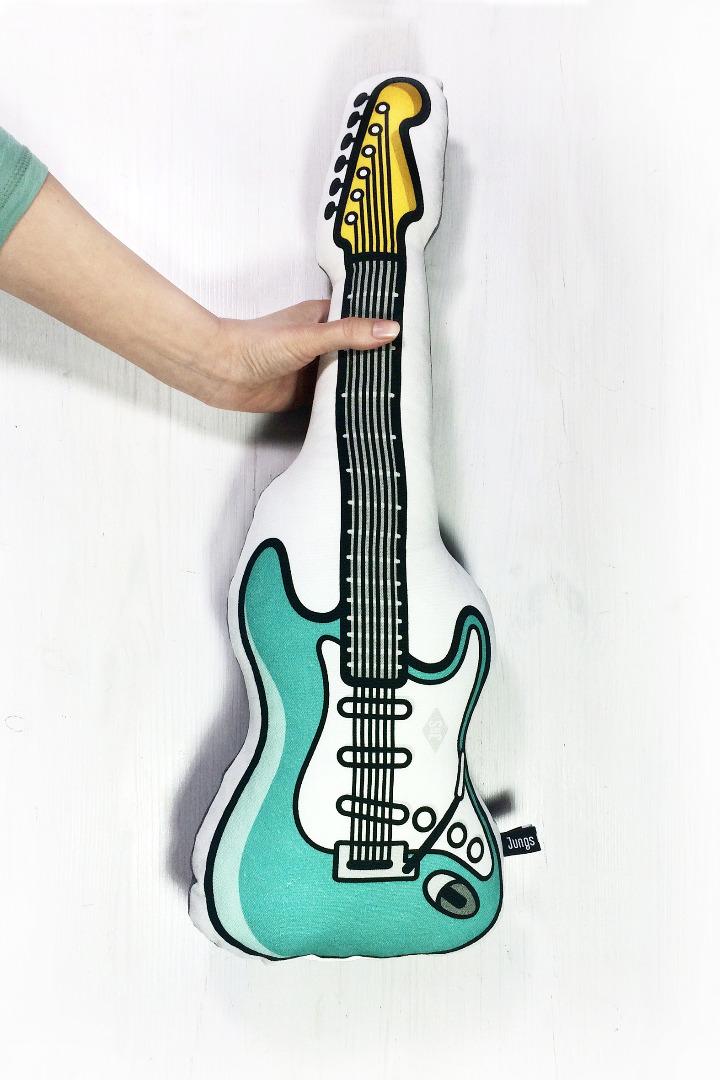 E-Gitarre Kissen in tuerkis mit Frotteerueckseite