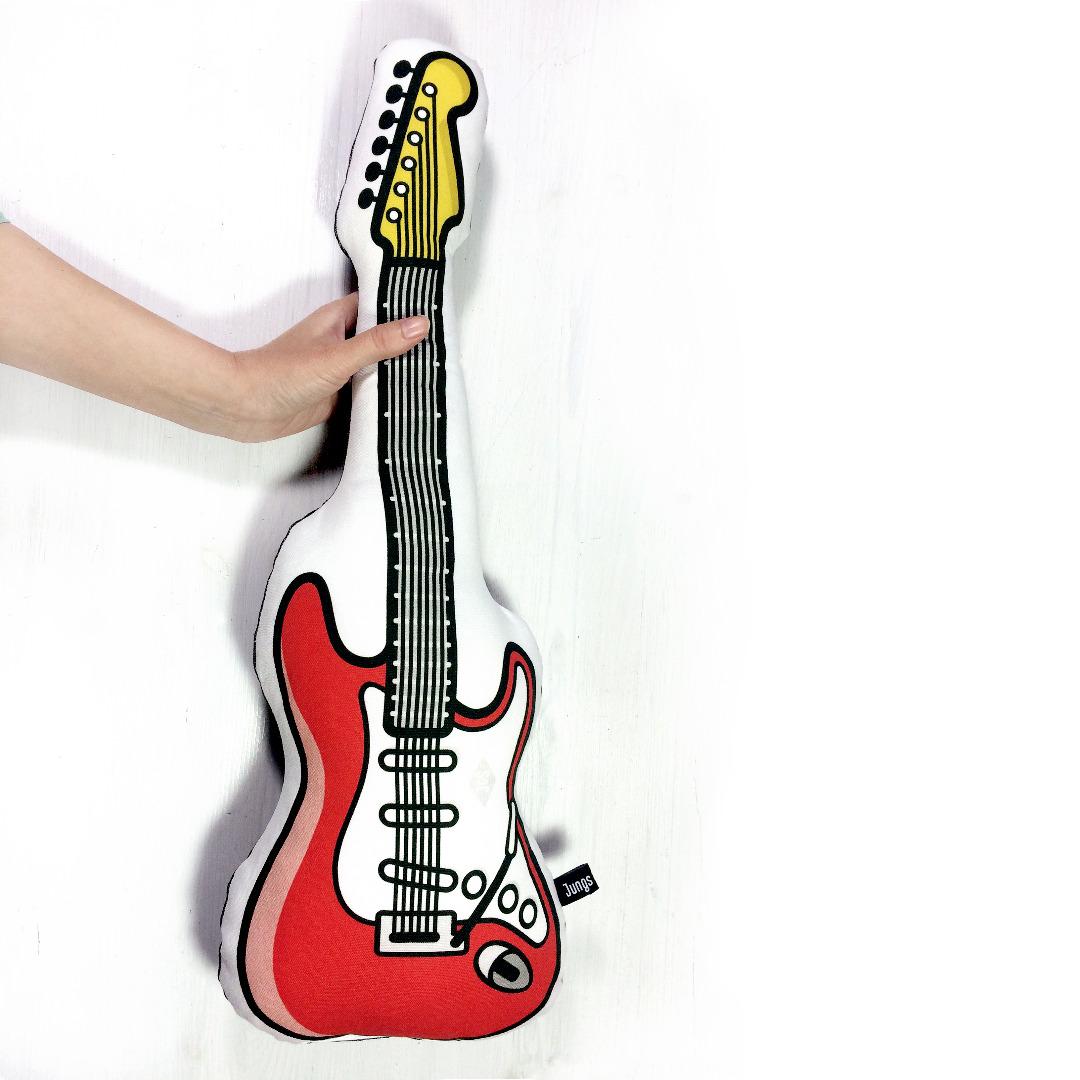E-Gitarre Kissen in rot mit Frotteerückseite - 1
