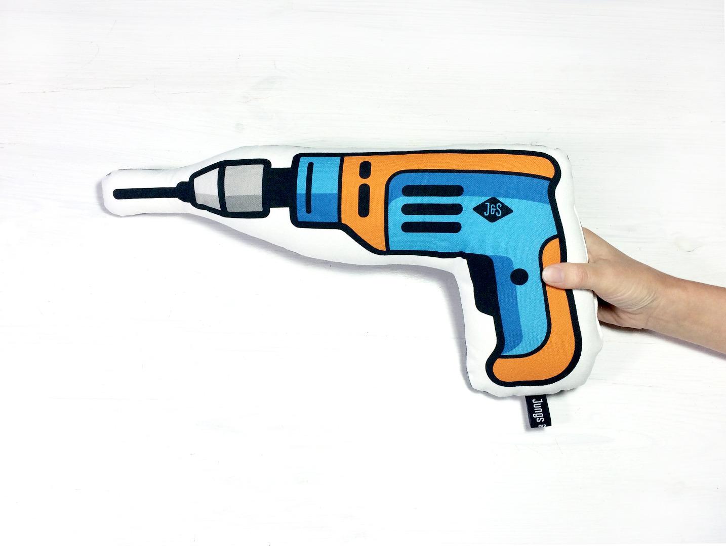 Kissen Bohrmaschine in blau-orange