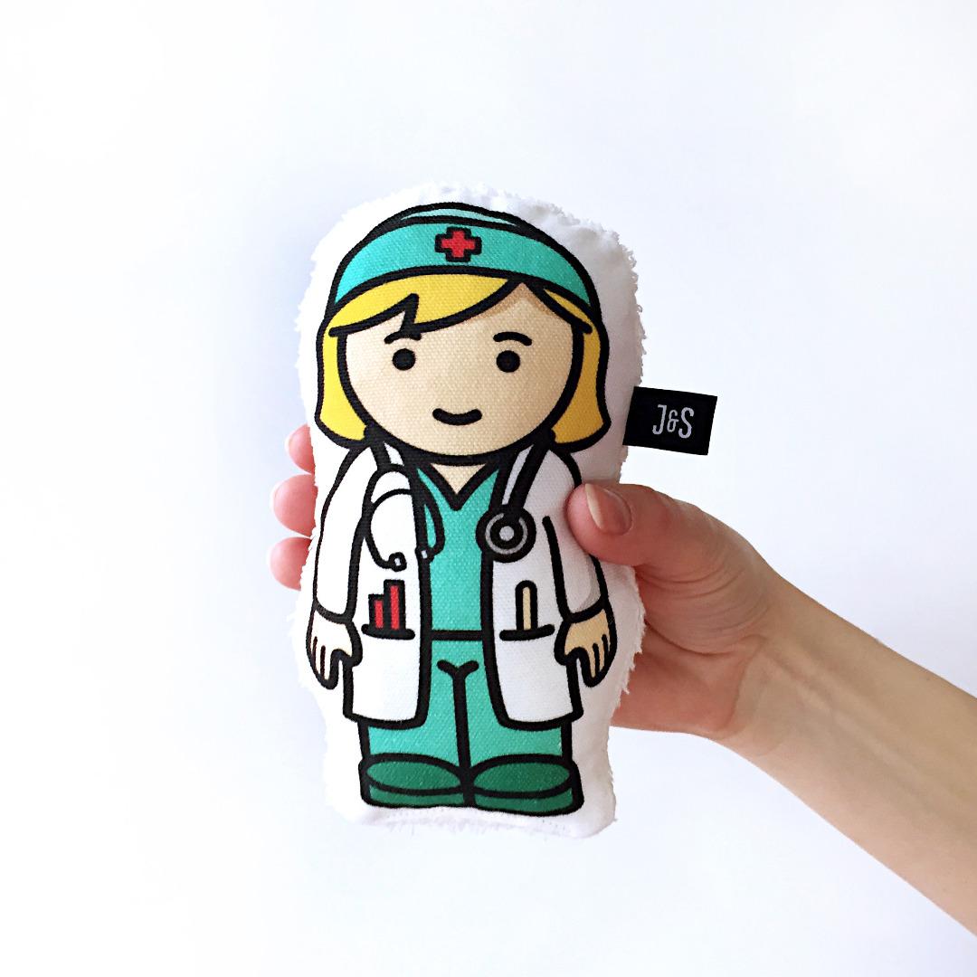 Ärztin Rassel Doktor Trösterpuppe handlich und - 1