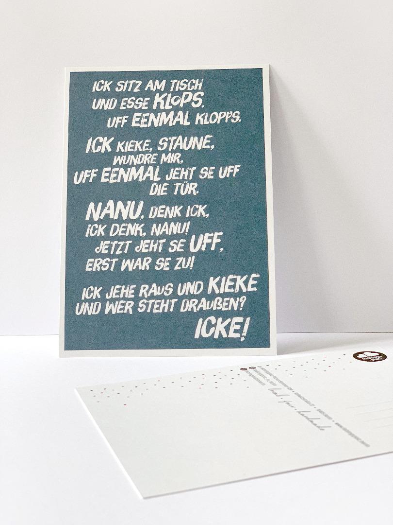 Postkarte, Ick sitze hier und esse Klops ... - 1