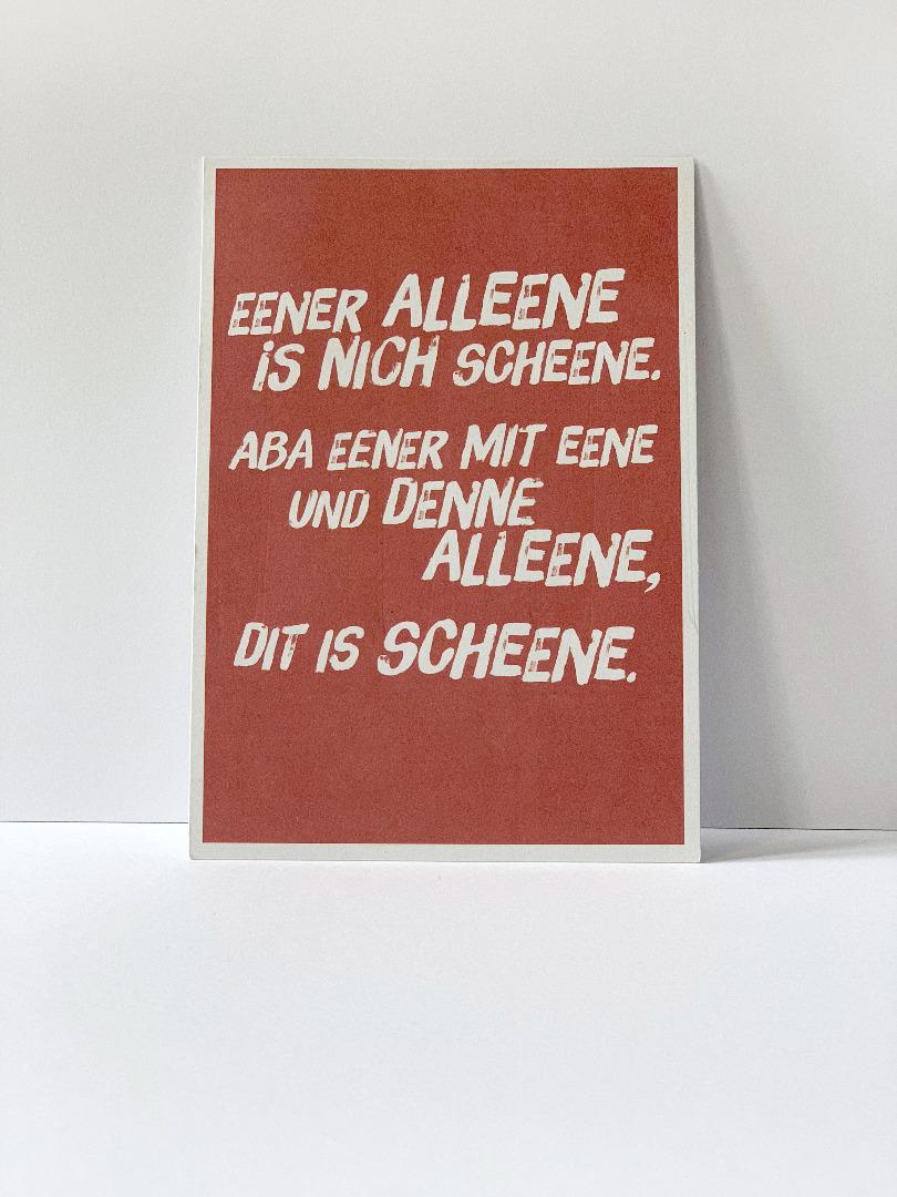 Postkarte, Eener alleene ... Berliner Mundart