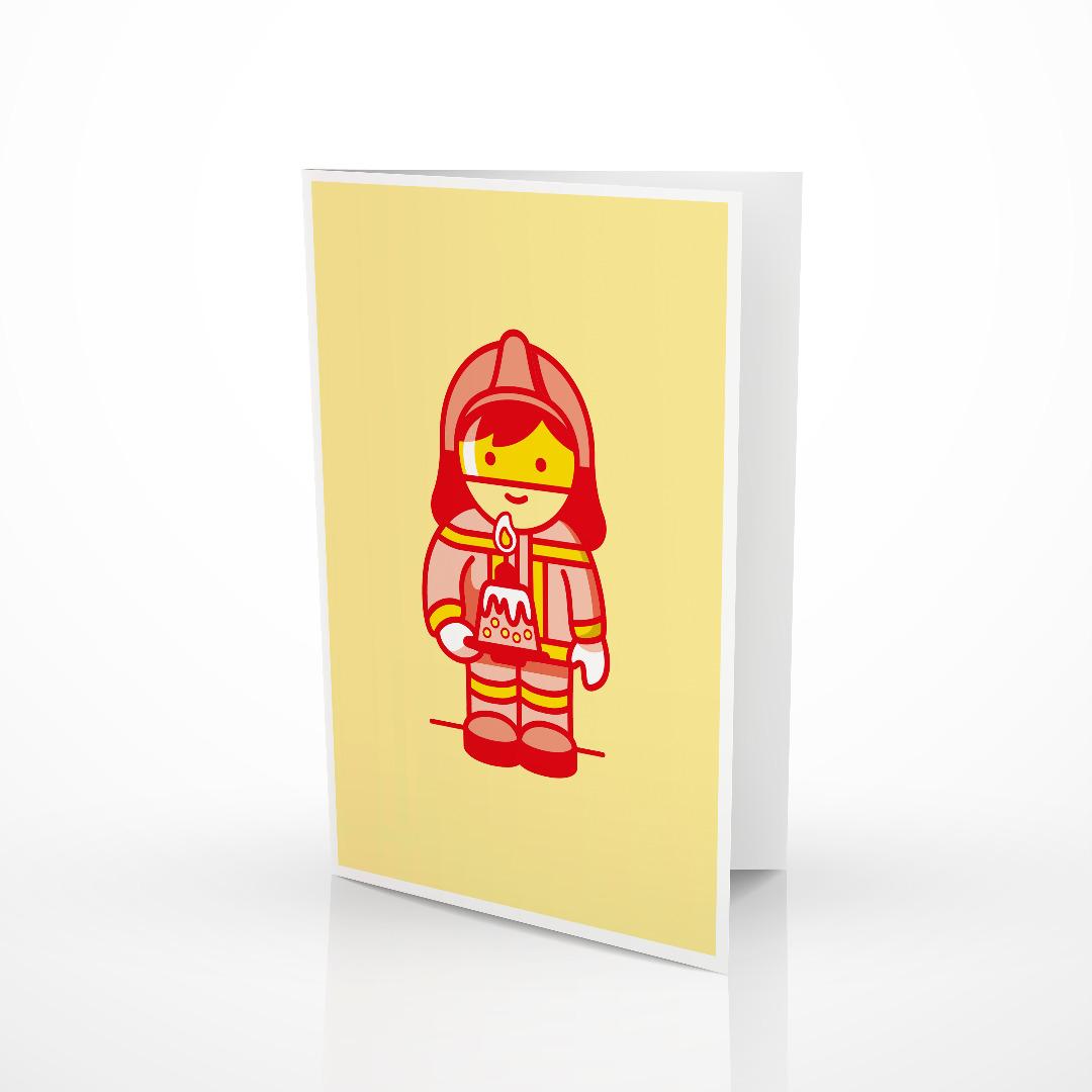 Glueckwunschkarte Feuerwehrmann mit Torte
