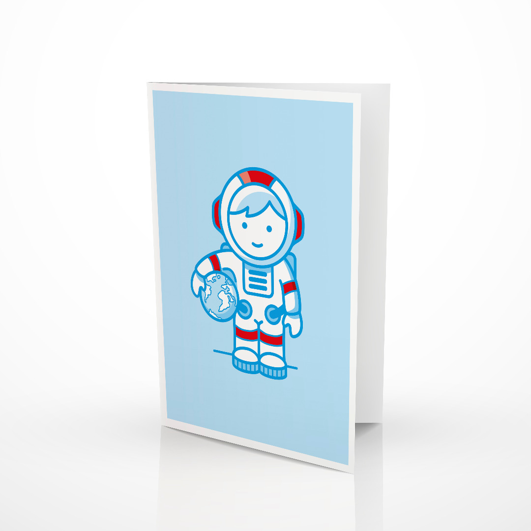 Geschenk-Set Astronaut 1 Rassel 1 Klappkarte 1 Geschenkpapier