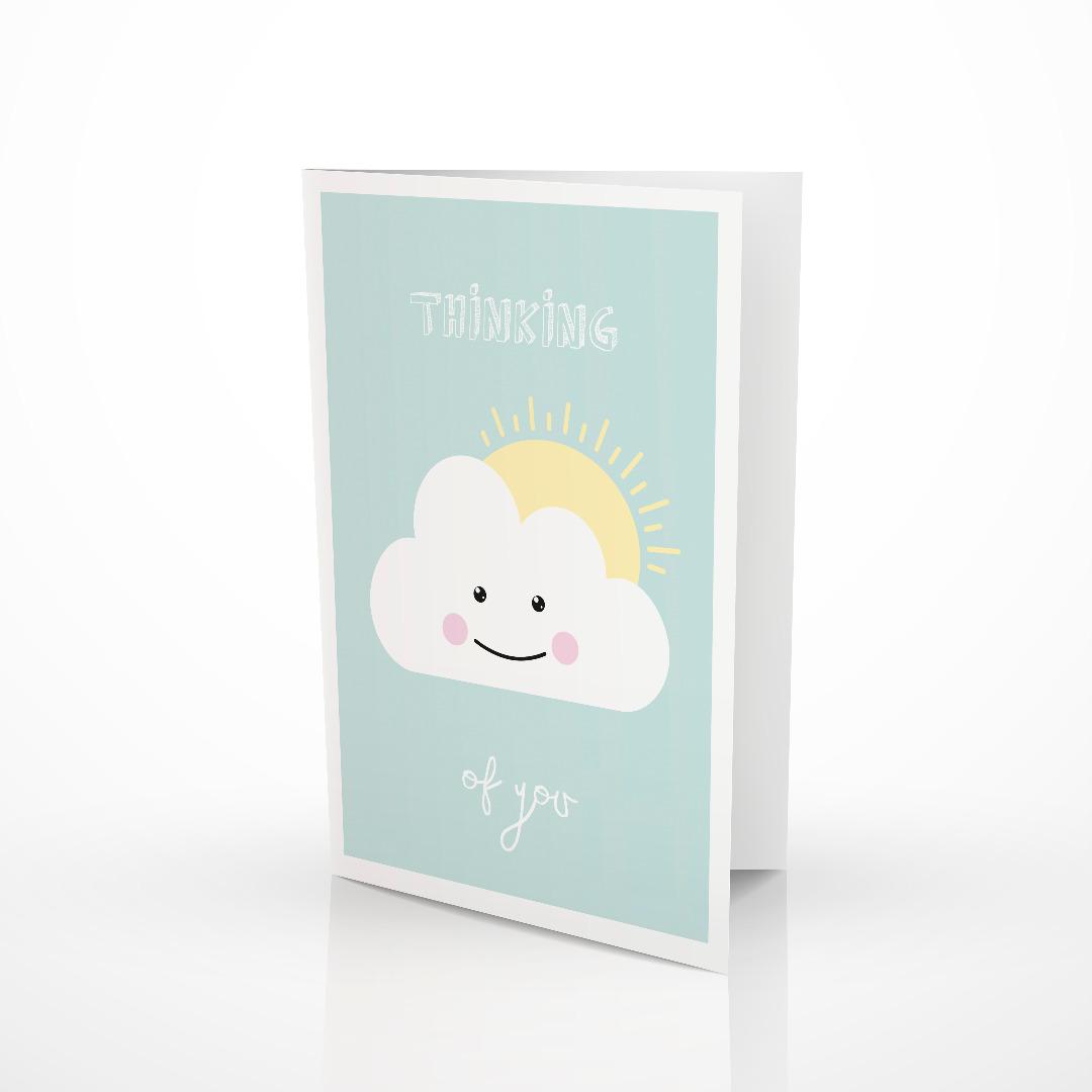 Geschenkt-Set Wolke 1 Rassel 1 Klappkarte 1 Geschenkpapier