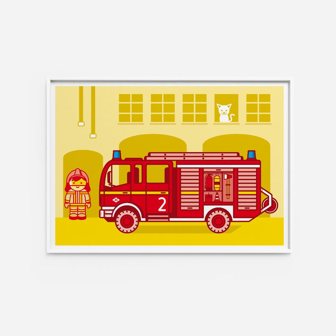 Kinderzimmerbild Feuerwehr, Poster