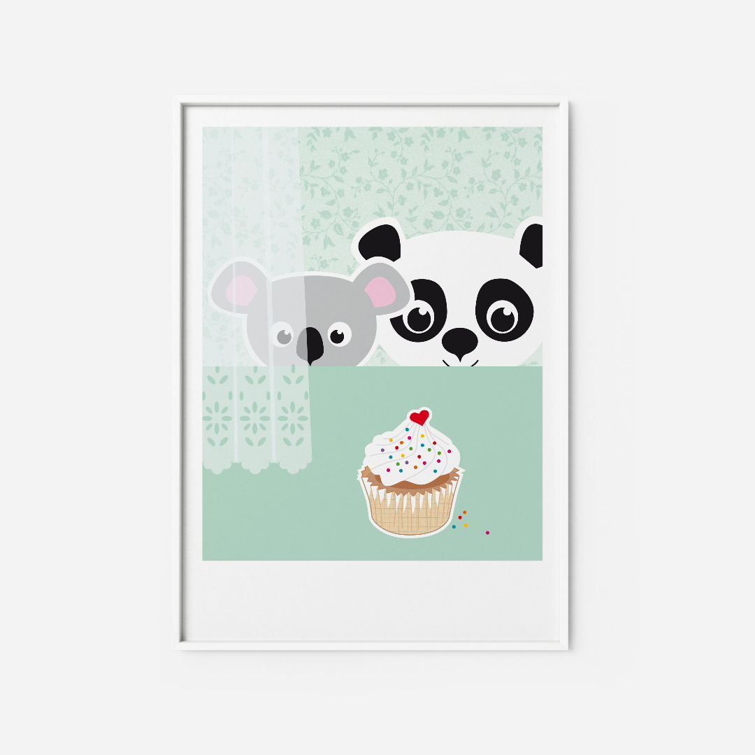 Kinderzimmerbild Panda Koala Poster