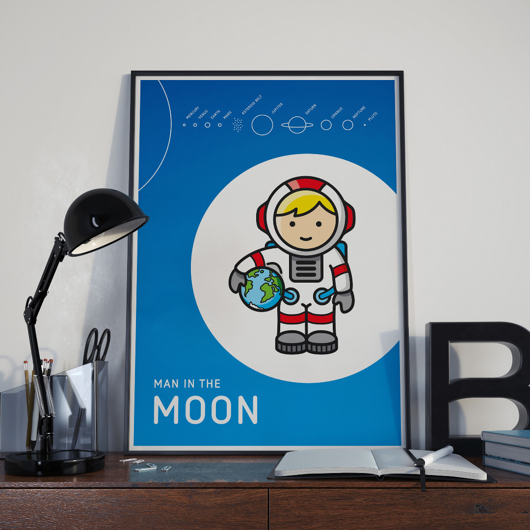 Plakat Poster Mann im Mond Kinderzimmerposter