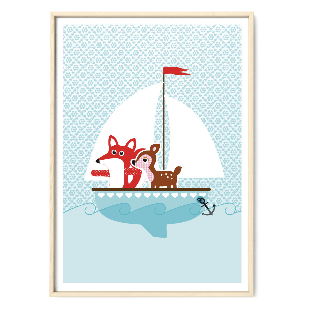 Plakat Poster Fuchs und Reh auf grosser Fahrt Kinderzimmerposter
