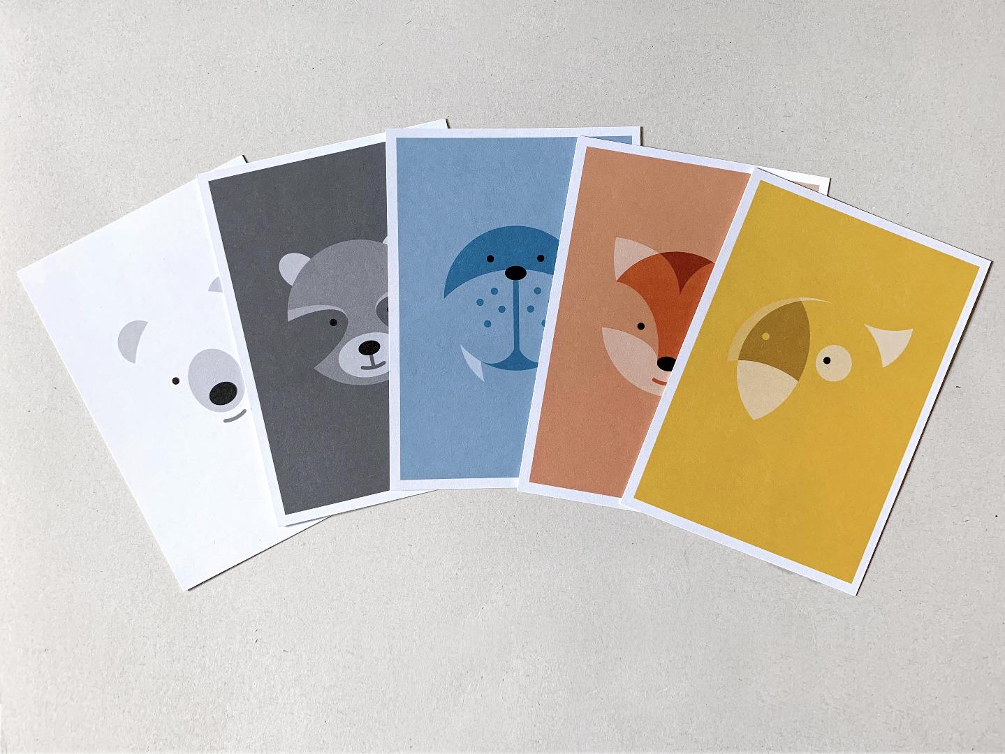5 Postkarten, Fuchs, Eisbär, Waschbär, Papagei und Walross - 1