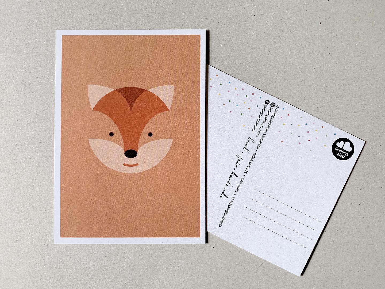 5 Postkarten, Fuchs, Eisbär, Waschbär, Papagei und Walross - 2
