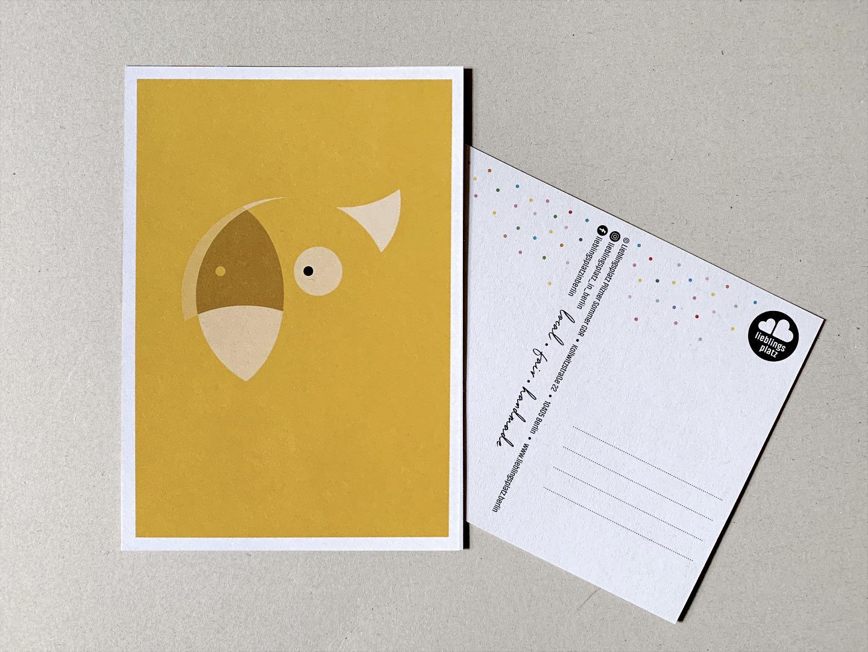 5 Postkarten, Fuchs, Eisbär, Waschbär, Papagei und Walross - 3