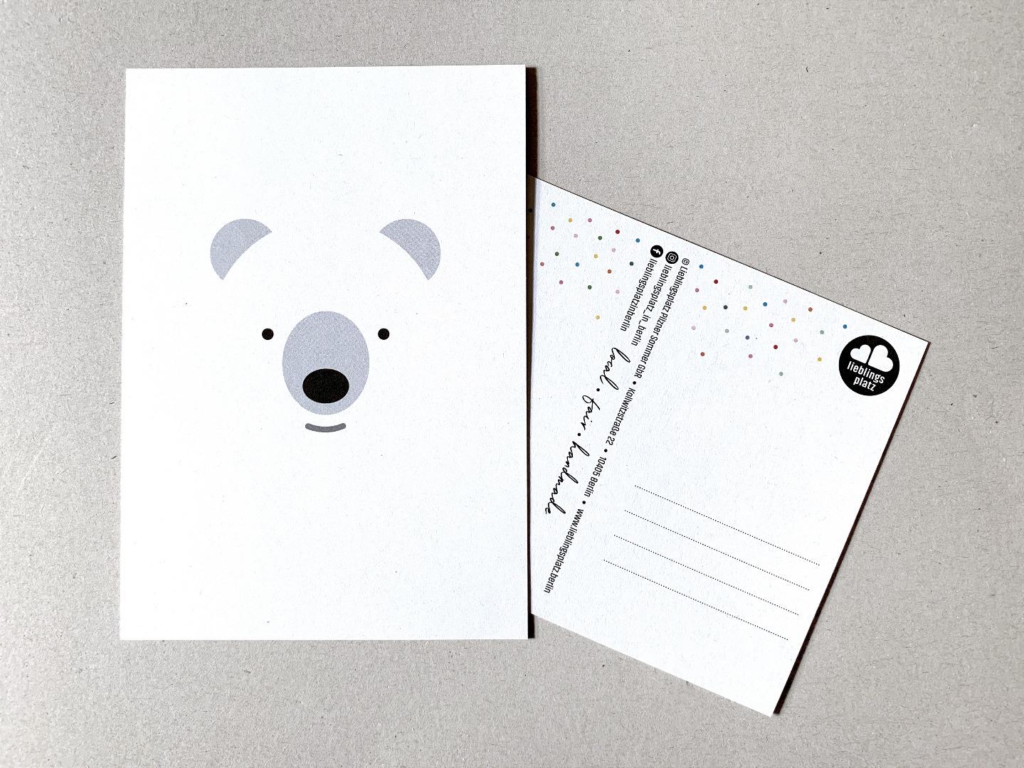5 Postkarten, Fuchs, Eisbär, Waschbär, Papagei und Walross - 6