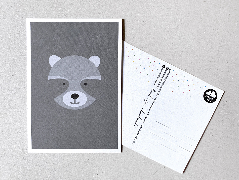 5 Postkarten, Fuchs, Eisbär, Waschbär, Papagei und Walross - 5
