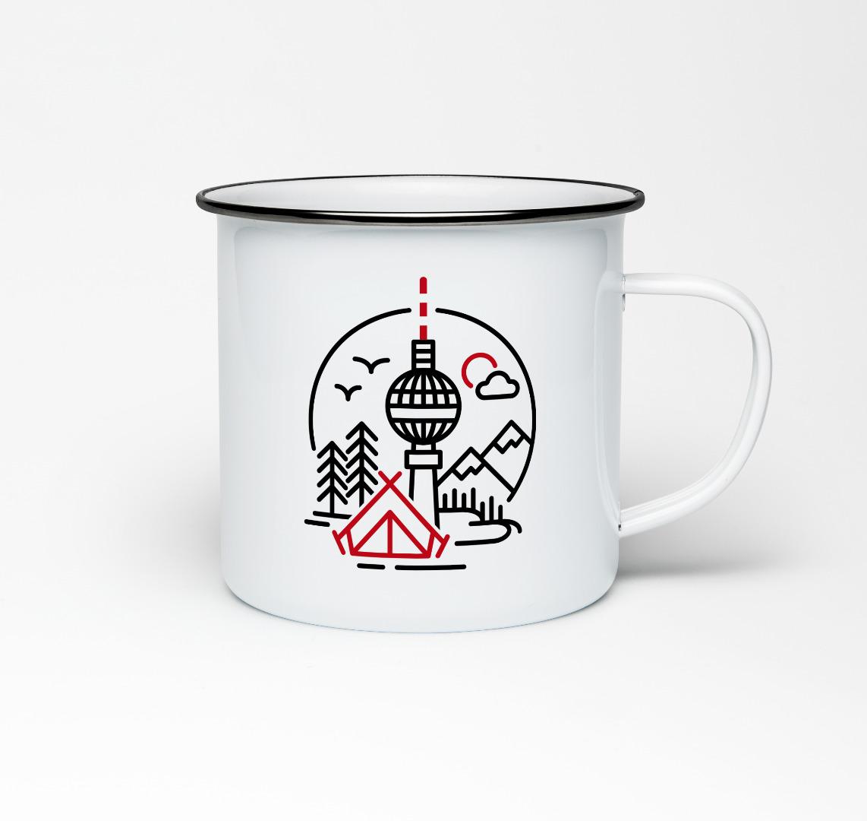 Emailletasse mit Berliner Fernsehturm Emaillebecher Tasse - 1