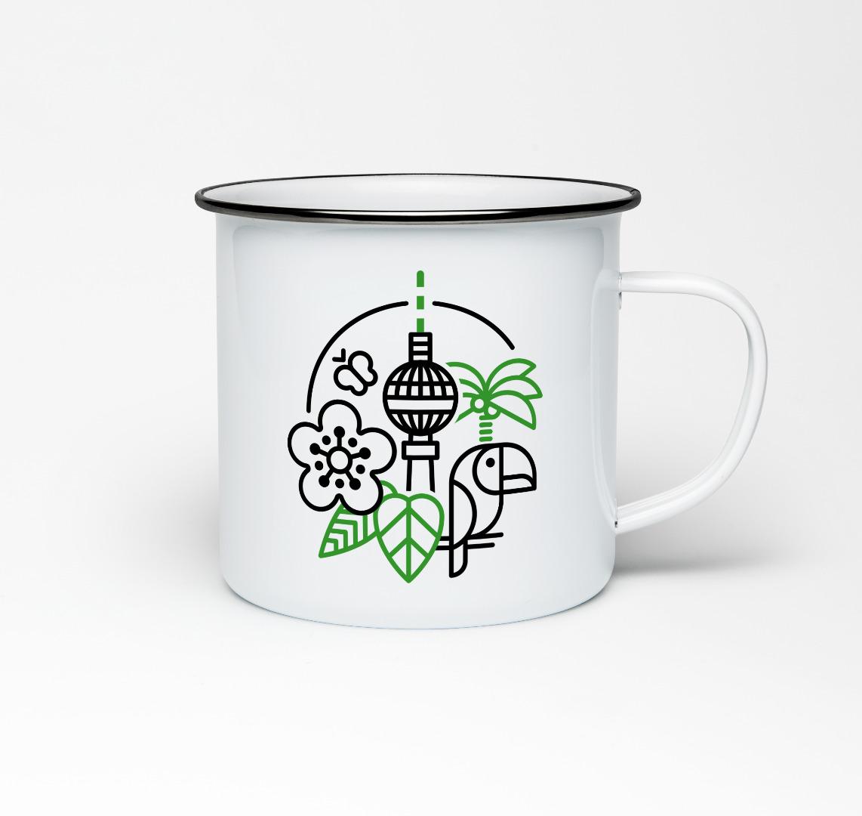 Emailletasse mit Berliner Fernsehturm Emaillebecher Tasse Berlin - 1