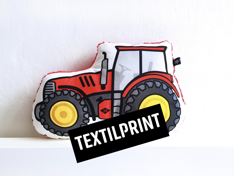 Textilprint zum selber nähen Traktor Kissen