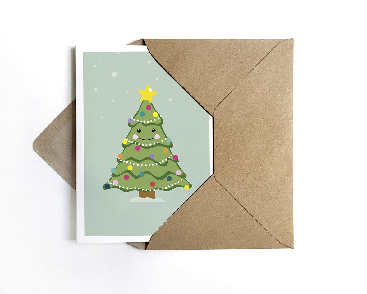 Grusskarte Weihnachtsbaum Weihnachtskarte