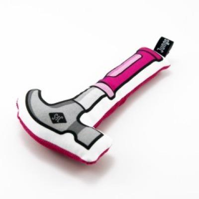 softer Hammer mit Rassel in pink