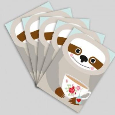 Postkartenset Faultier/ 5 Postkarten