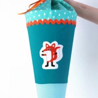 Schultüte Fuchs türkis 70cm Hülle aus