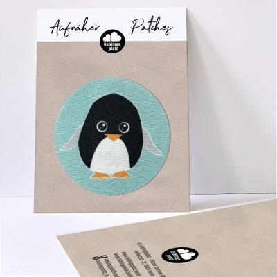 Aufnäher Pinguin / rund
