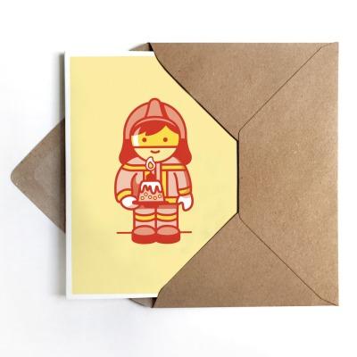 Glückwunschkarte Feuerwehrmann mit Torte