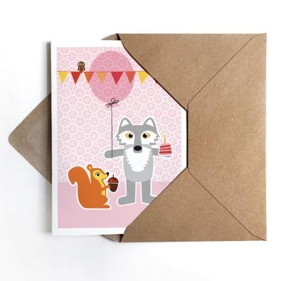 Grußkarte Wolf & Eichhörnchen Geburtstagskarte
