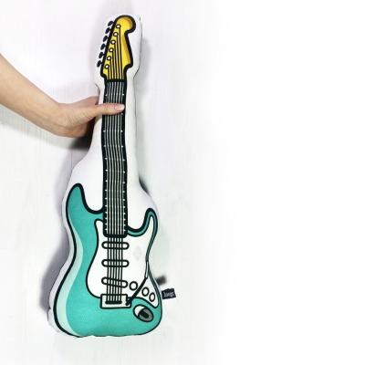 E-Gitarre Kissen in türkis mit Frotteerückseite