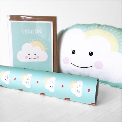 Geschenkt-Set Wolke Kissen Klappkarte Geschenkpapier im