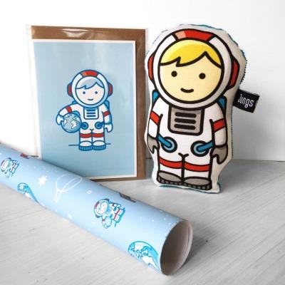 Geschenk-Set Astronaut Rassel Klappkarte Geschenkpapier im