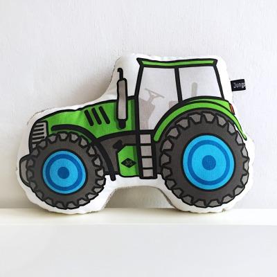 Traktor Kissen grün Baufahrzeug Trekker Landarbeit