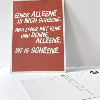 Postkarte Eener alleene Berliner Mundart