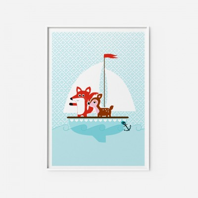 Kinderzimmerbild Fuchs Reh Poster DIN A4