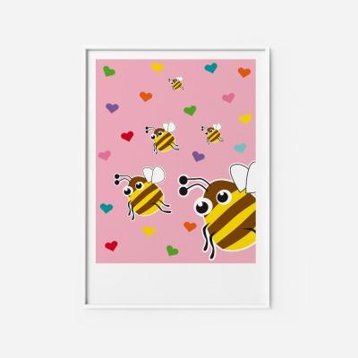 Kinderzimmerbild Hummel - Poster Kinderzimmerdekoration