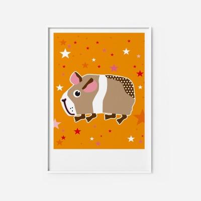 Kinderzimmerbild Meerschwein Poster - Poster Kinderzimmerdekoration