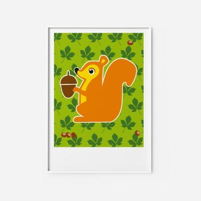 Kinderzimmerbild Eichhörnchen Poster - Poster Kinderzimmerdekoration