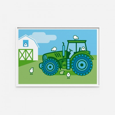 Kinderzimmerbild Traktor Poster - Poster Kinderzimmerdekoration