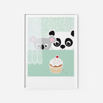 Kinderzimmerbild Panda Koala Poster Poster Kinderzimmerdekoration