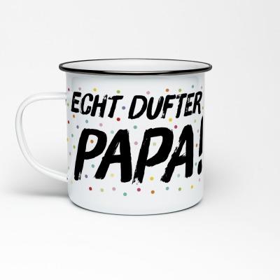 Emailletasse Echt dufter Papa Konfetti Emaillebecher