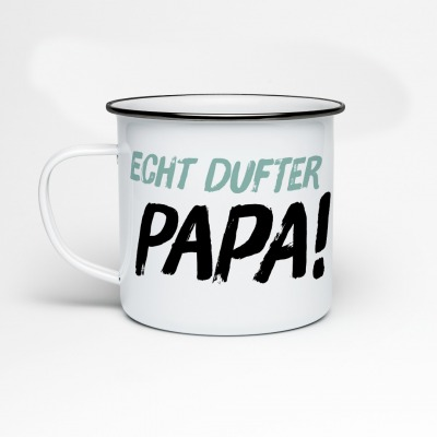 Emailletasse Echt dufter Papa Herrenfliege Emaillebecher